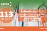 Ecco la manovra del Governo 113 miliardi di euro: uno per farmaci innovativi, vaccini e stabilizzazione medici e infermieri