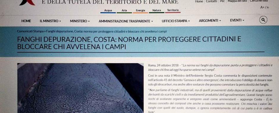 """Fanghi di depurazione. European Consumers critica il Ministro Costa: """"Speravamo emendamenti correttivi"""""""