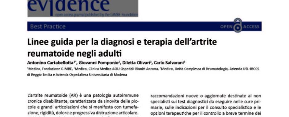 """Artrite reumatoide, 400mila pazienti. GIMBE: """"Tempo di allenza tra cure primarie e assistenza specialistica"""""""